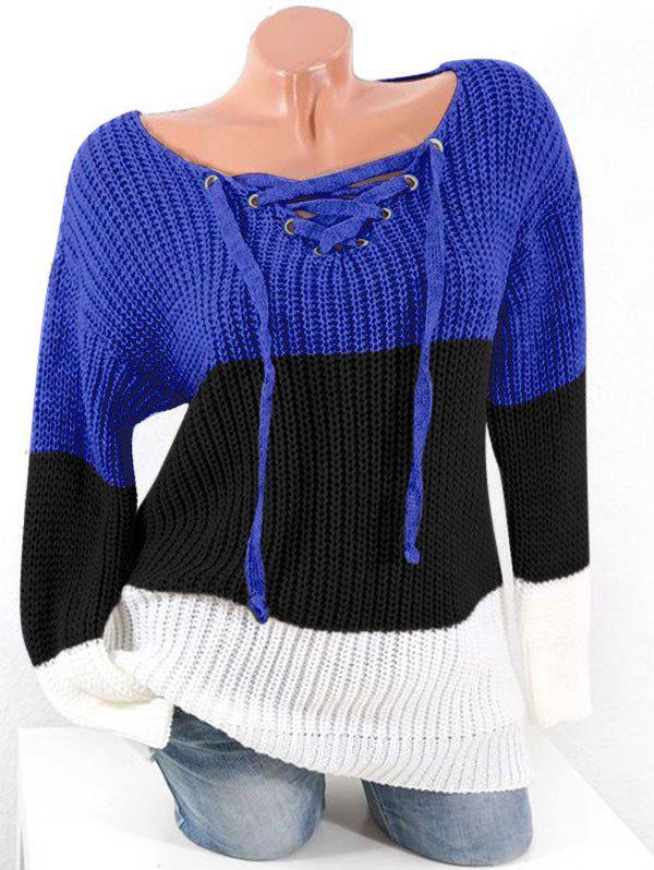 Affordable Plus Size Lace Up Hit Color Chunky Sweater