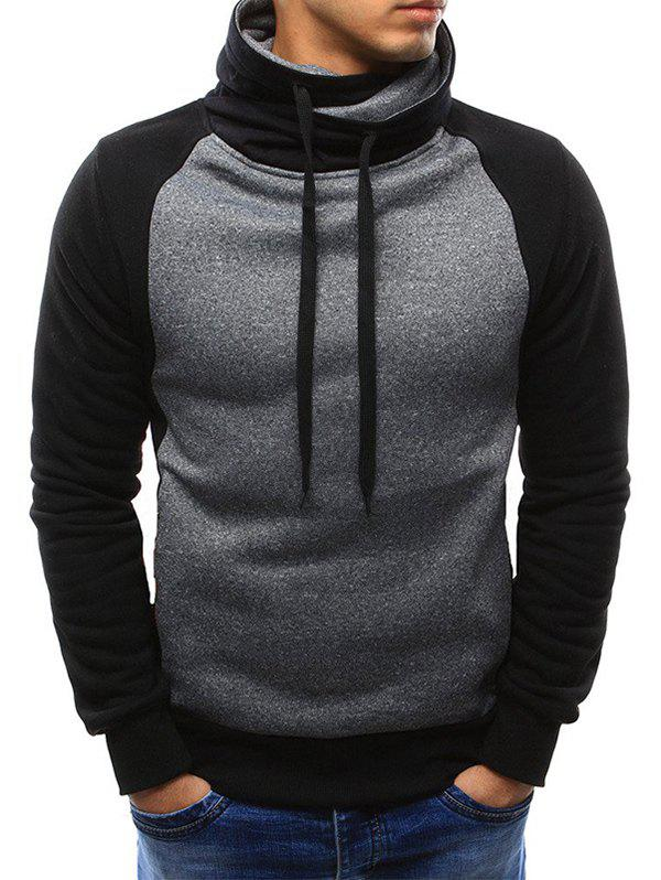 Latest Casual Color Spliced Drawstring Hoodie