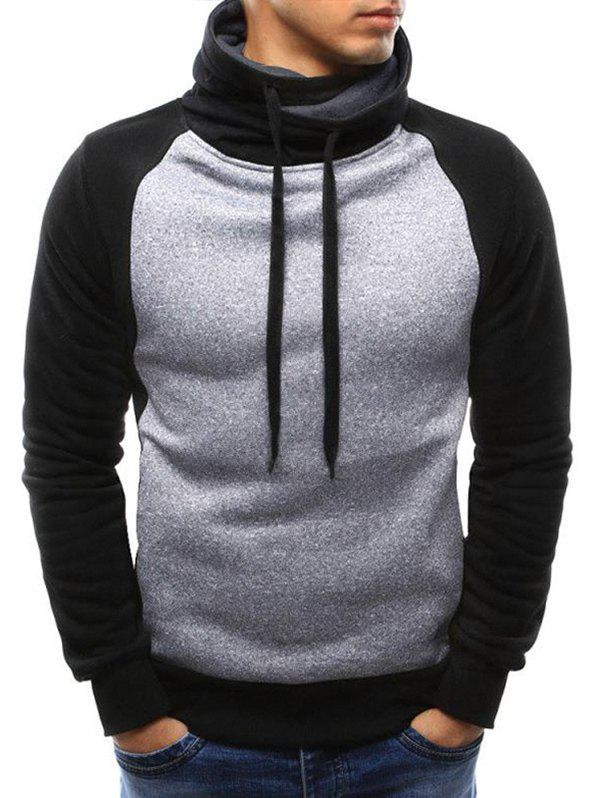 New Casual Color Spliced Drawstring Hoodie