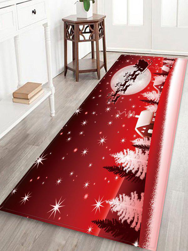 New Christmas Sleigh Town Moon Night Pattern Water Absorption Area Rug