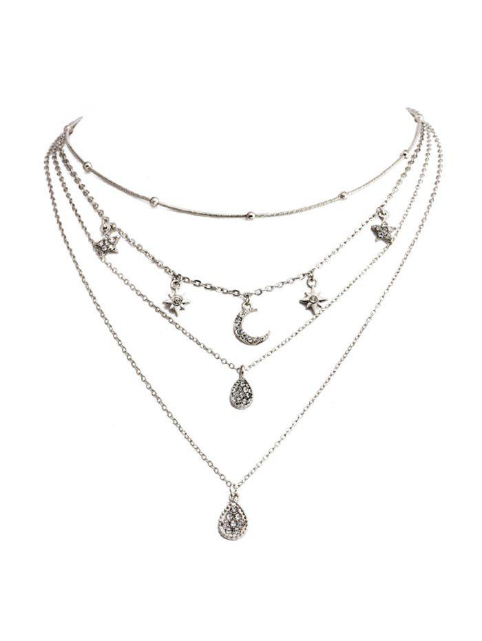 Sale Star Crescent Pendant Layered Necklace