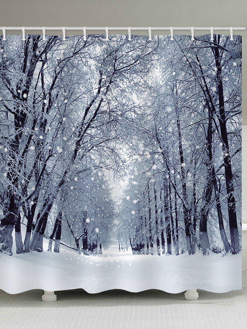 Latest Christmas Snow Forest Road Pattern Waterproof Bathroom Shower Curtain