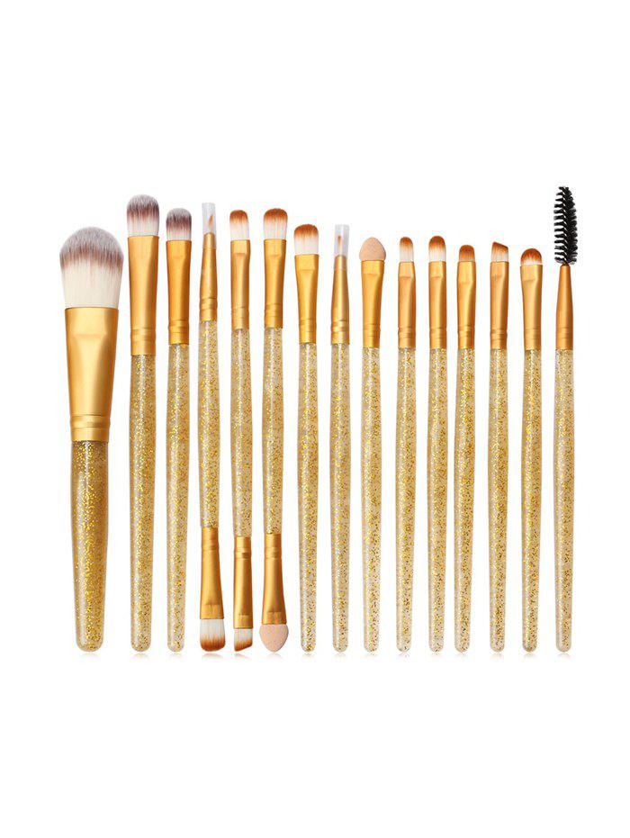 Latest 15Pcs Glitter Handle Powder Makeup Brushes
