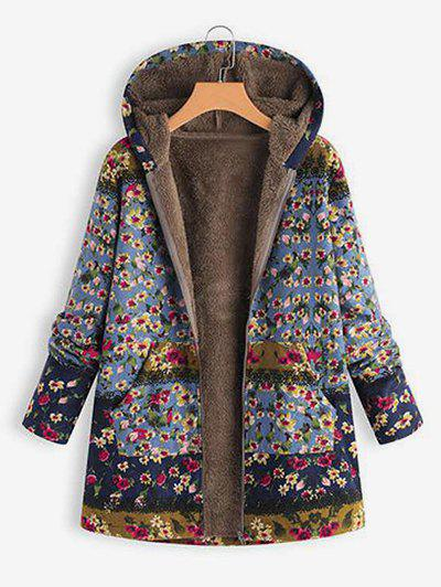 Online Hooded Floral Faux Shearling Lining Coat