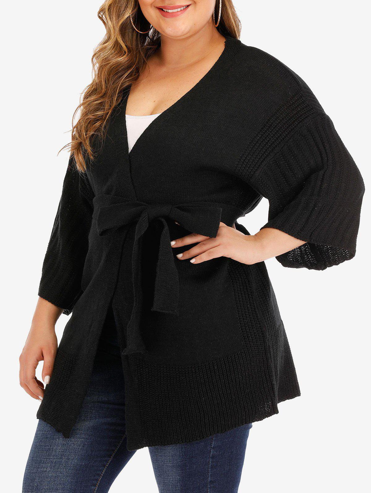 Discount Plus Size Belted Solid Cardigan