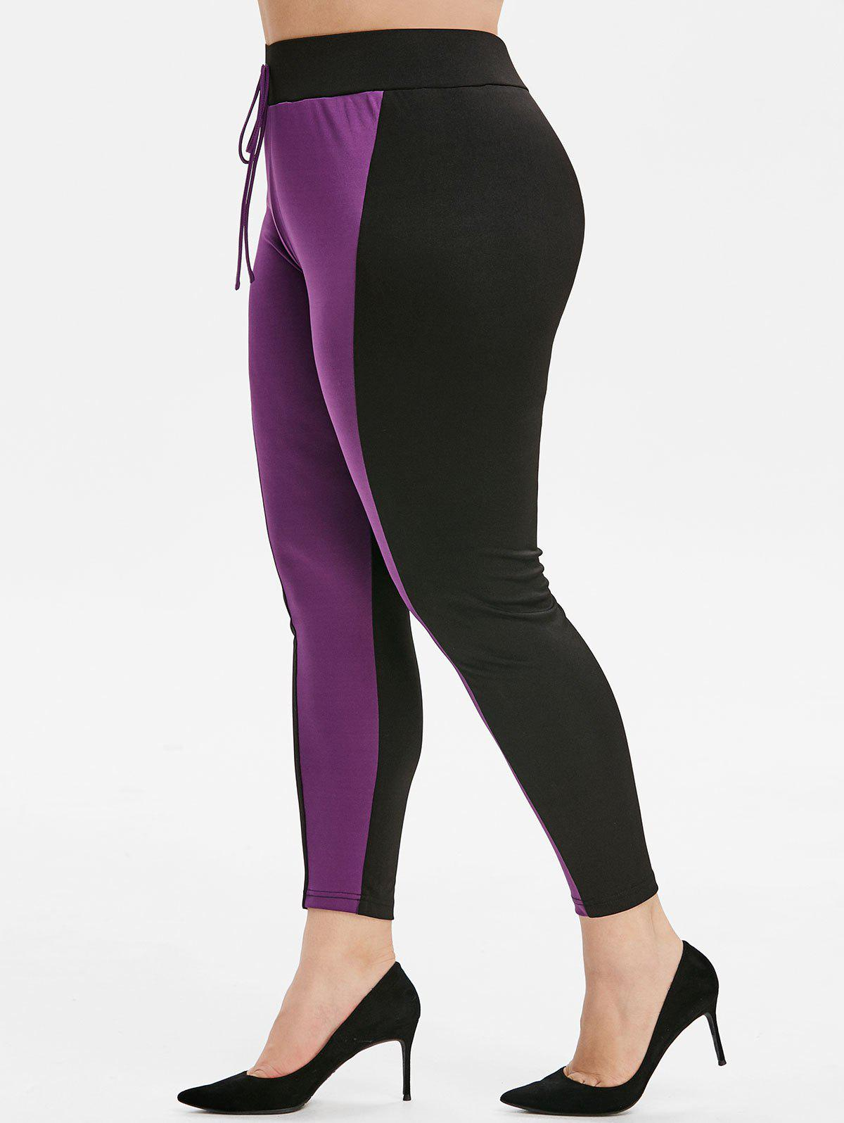 Unique Plus Size Knotted Front Contrast Tapered Leggings