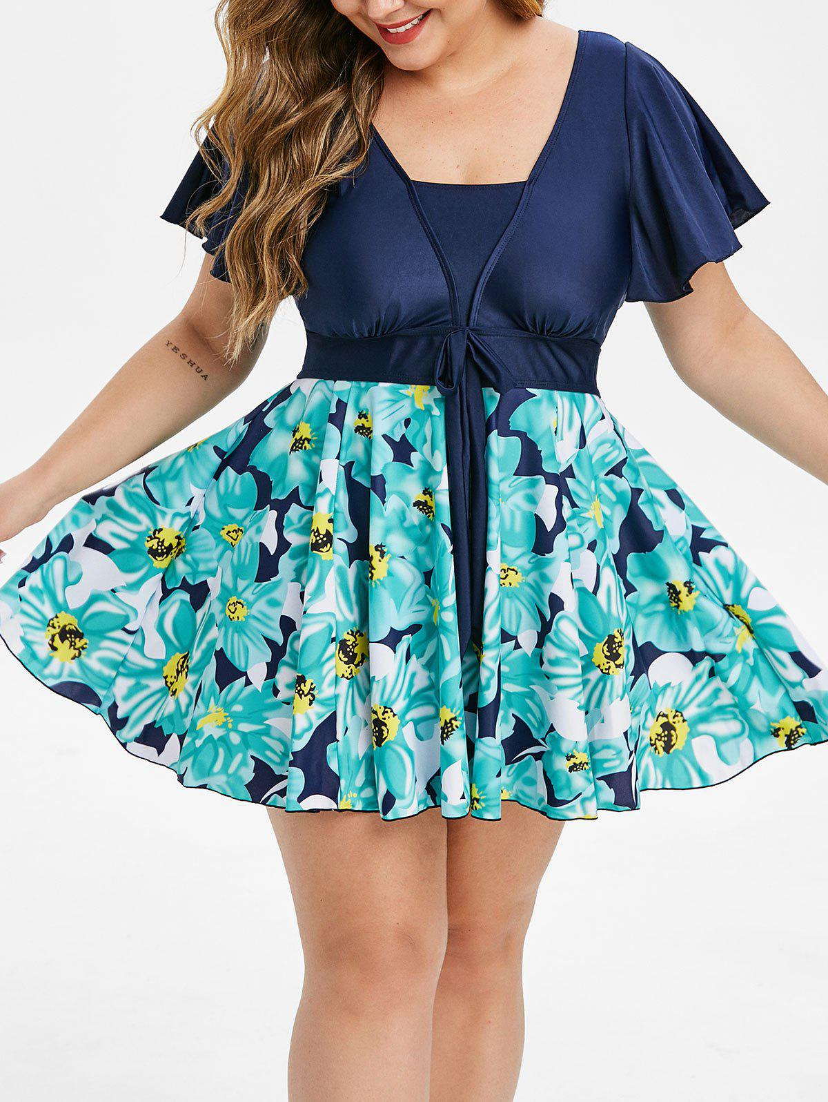 Fancy Plus Size Flutter Sleeve Floral Skirted Tankini Swimsuit