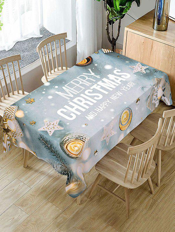 Online Christmas Balls Stars Greeting Print Fabric Tablecloth