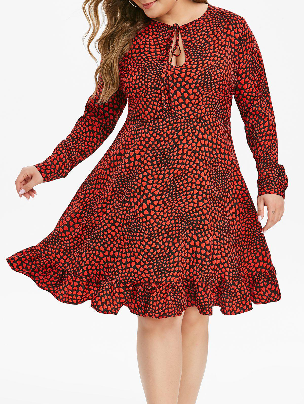 Fancy Plus Size Heart Print Flounce Keyhole Dress