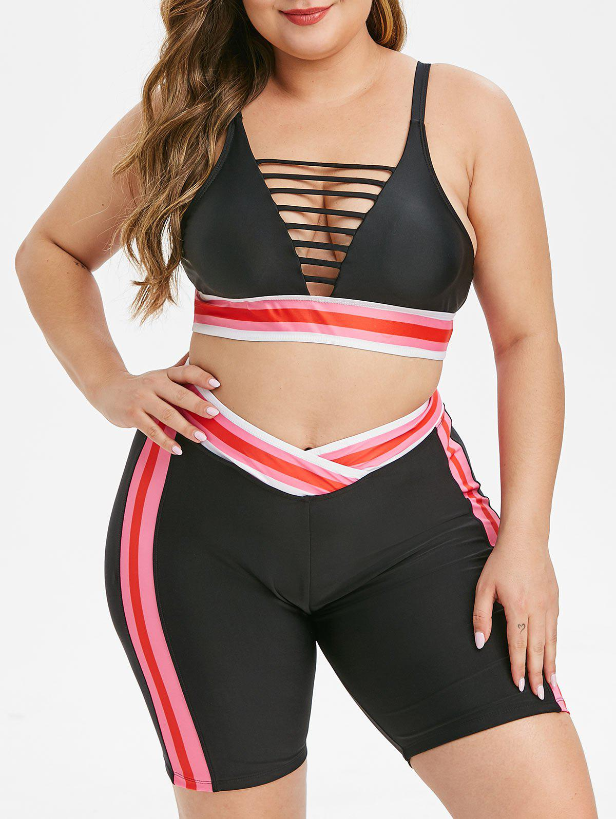 Sale Overlap Waist Stripes Laddering Cut Out Plus Size Bikini Swimsuit