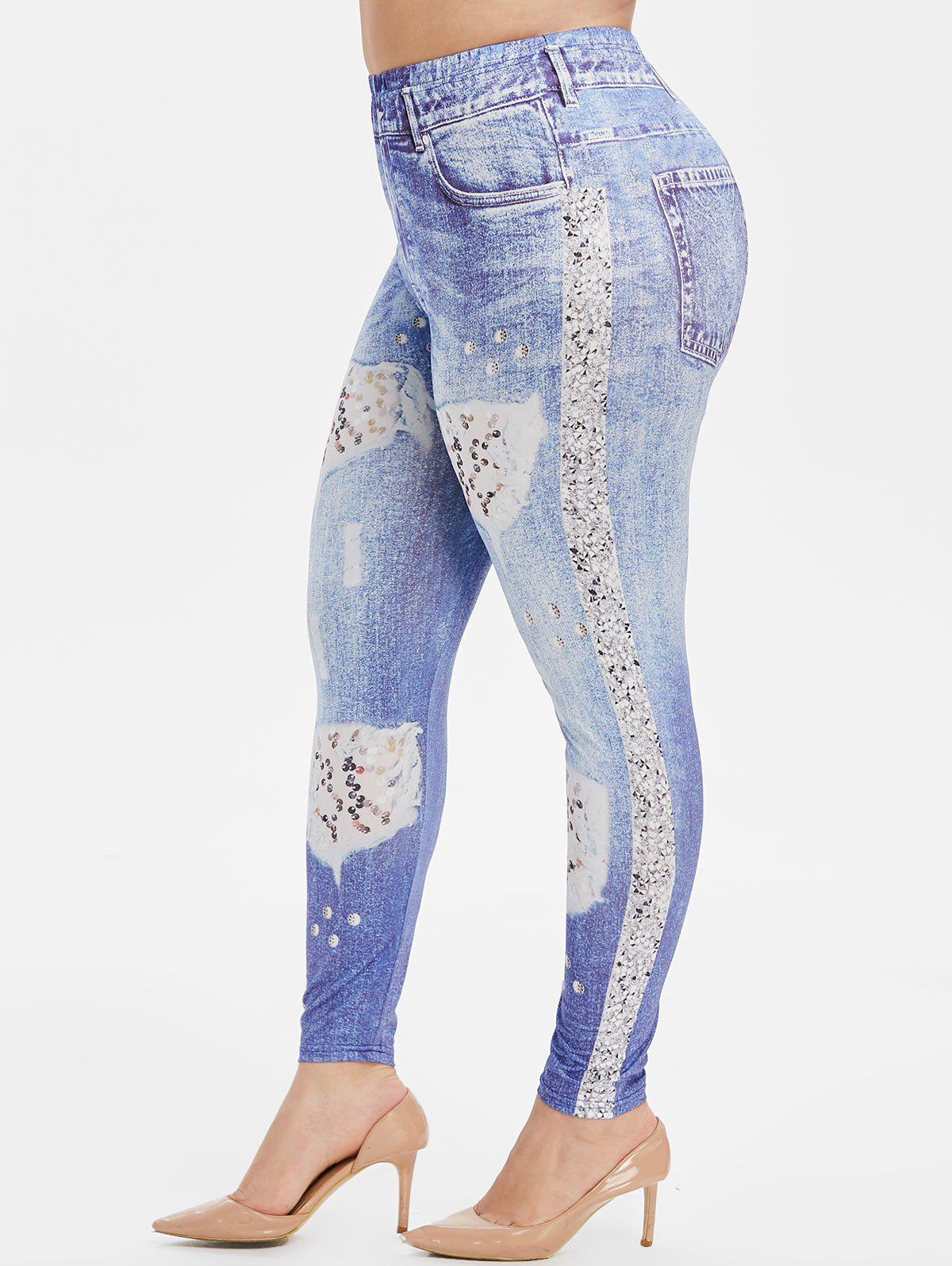 New Plus Size Destroyed Sequin 3D Print Skinny Jeggings