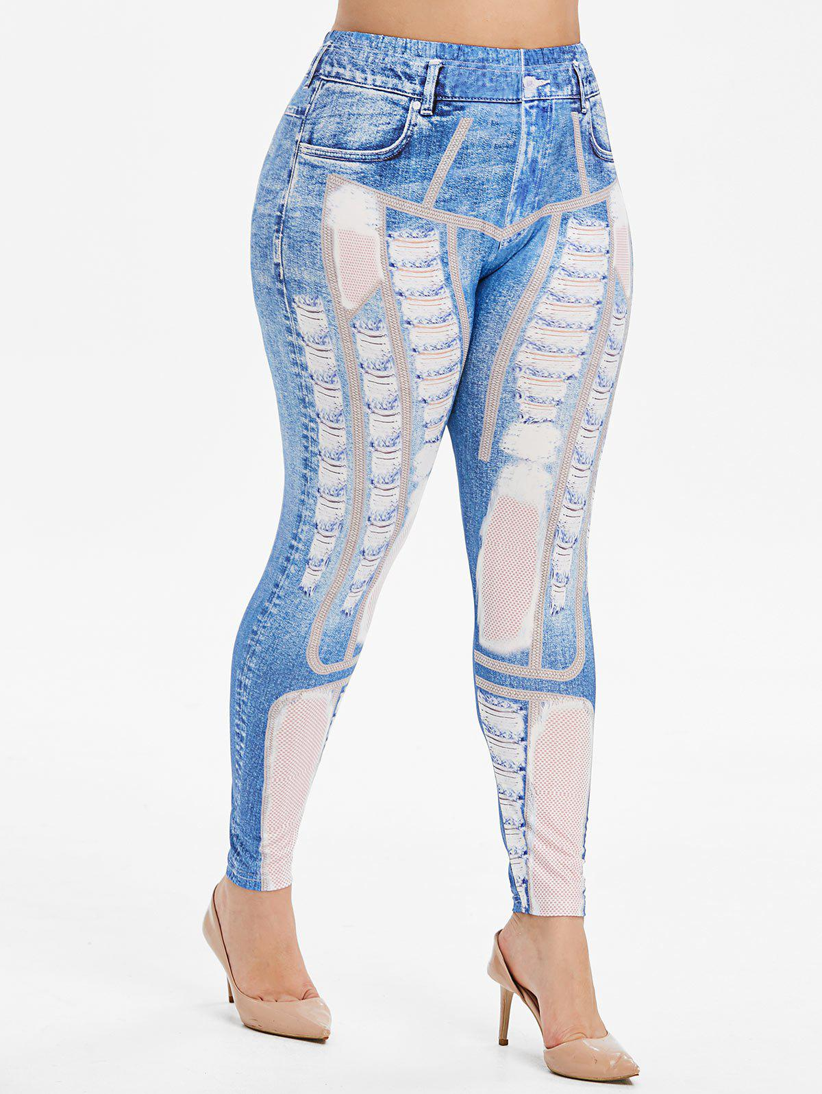New Plus Size Ripped 3D Print Faux Denim Leggings