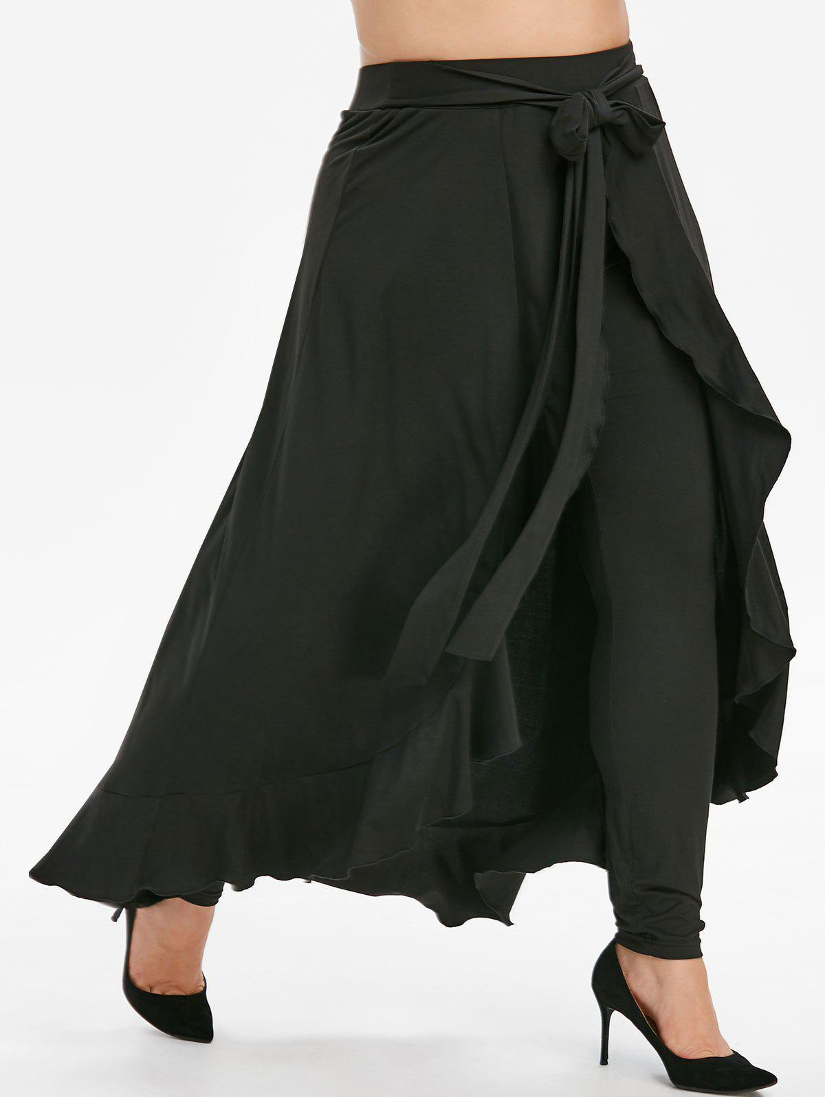 Fashion Plus Size Belted Ruffle Maxi Skirted Pants