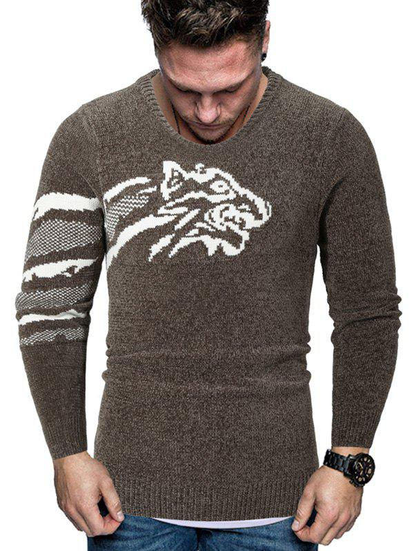Affordable Tiger Graphic Crew Neck Chenille Sweater