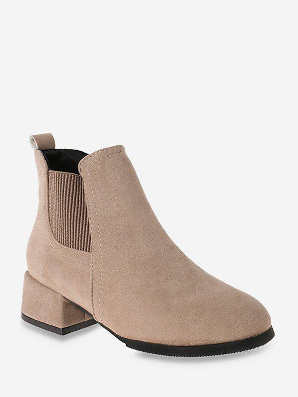 Discount Solid Color Design Chunky Heel Ankle Boots