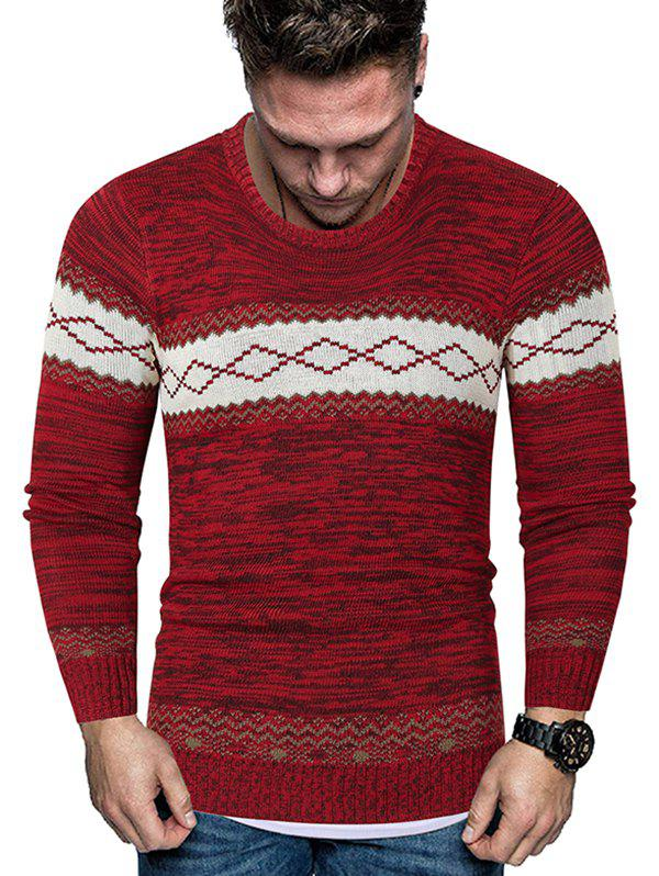 Outfits Rhombus Graphic Crew Neck Heather Knit Sweater