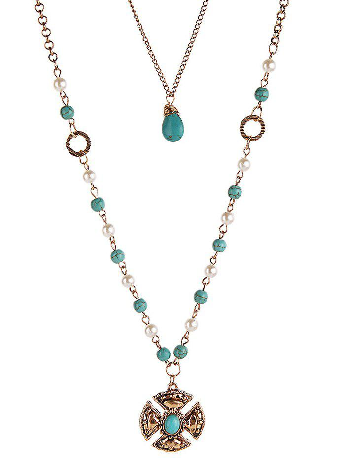 Outfits Bohemian Artificial Turquoise Layered Necklace