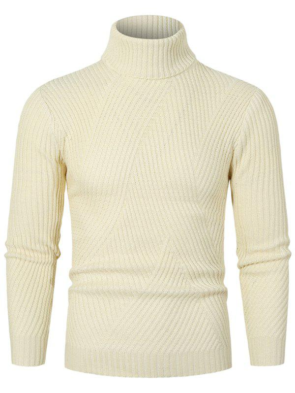 Fancy Solid Color Turtleneck Slant Ribbed Sweater