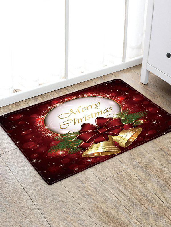 Affordable Christmas Bowknot Bells Greeting Pattern Water Absorption Area Rug