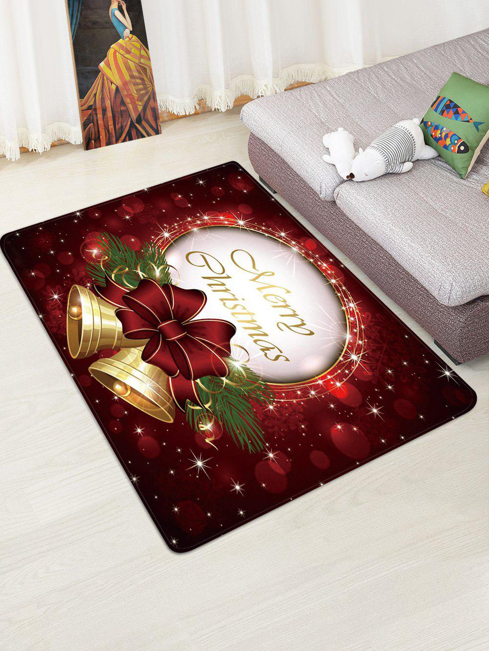 Shops Christmas Bowknot Bells Greeting Pattern Water Absorption Area Rug