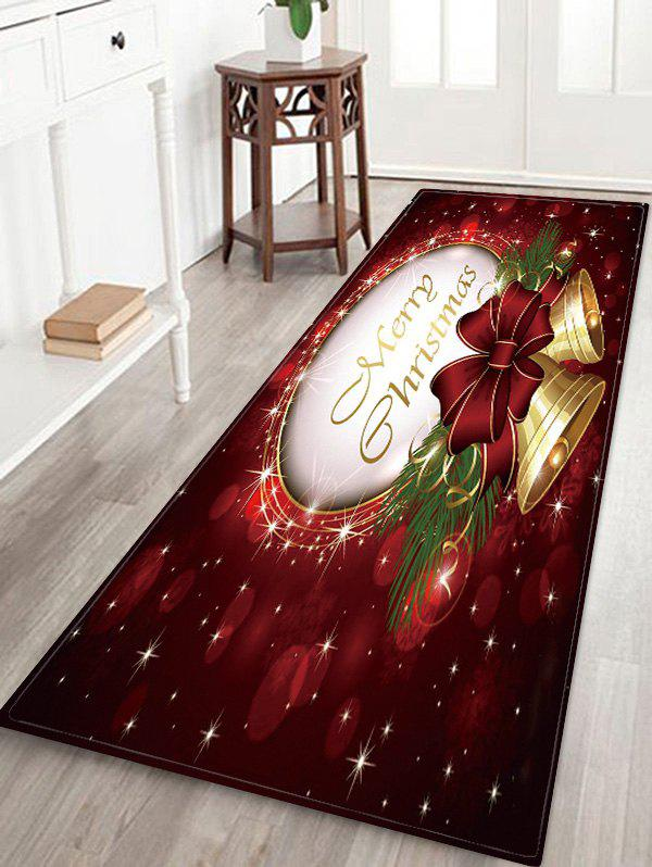 Trendy Christmas Bowknot Bells Greeting Pattern Water Absorption Area Rug