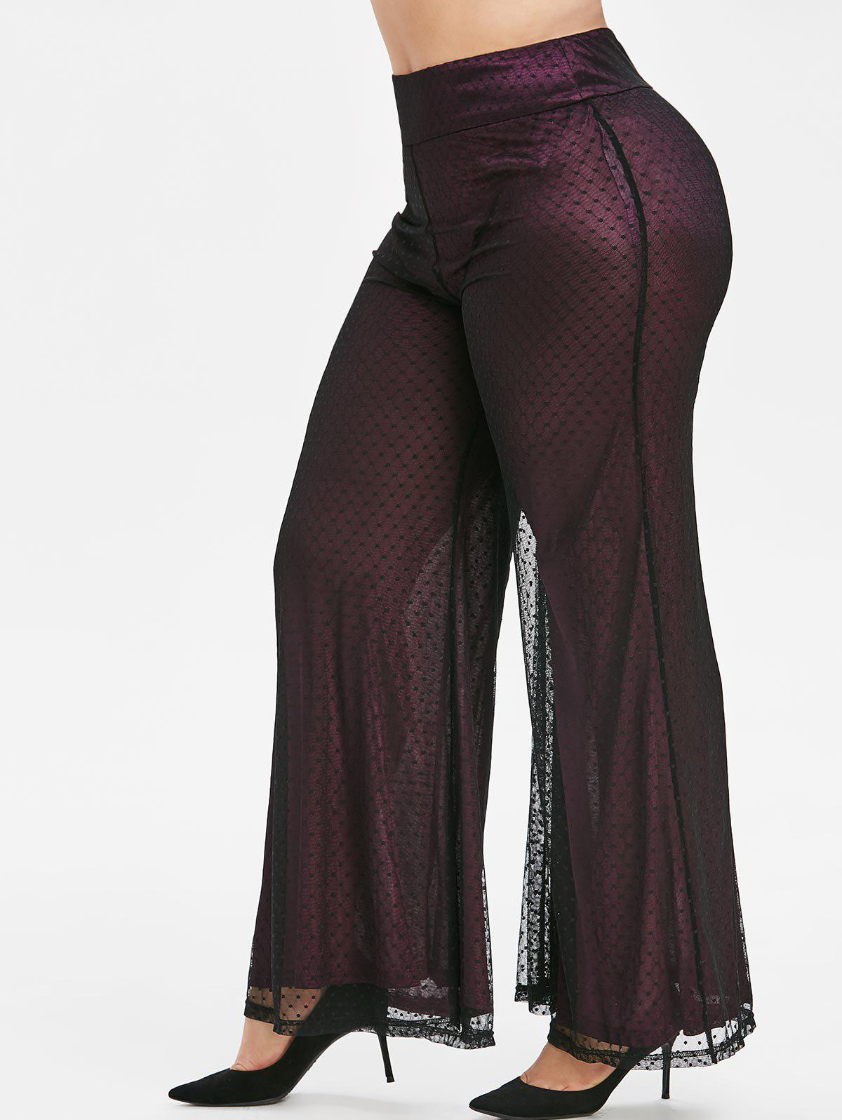 Latest Plus Size Dotted Lace Bell Bottom Pants