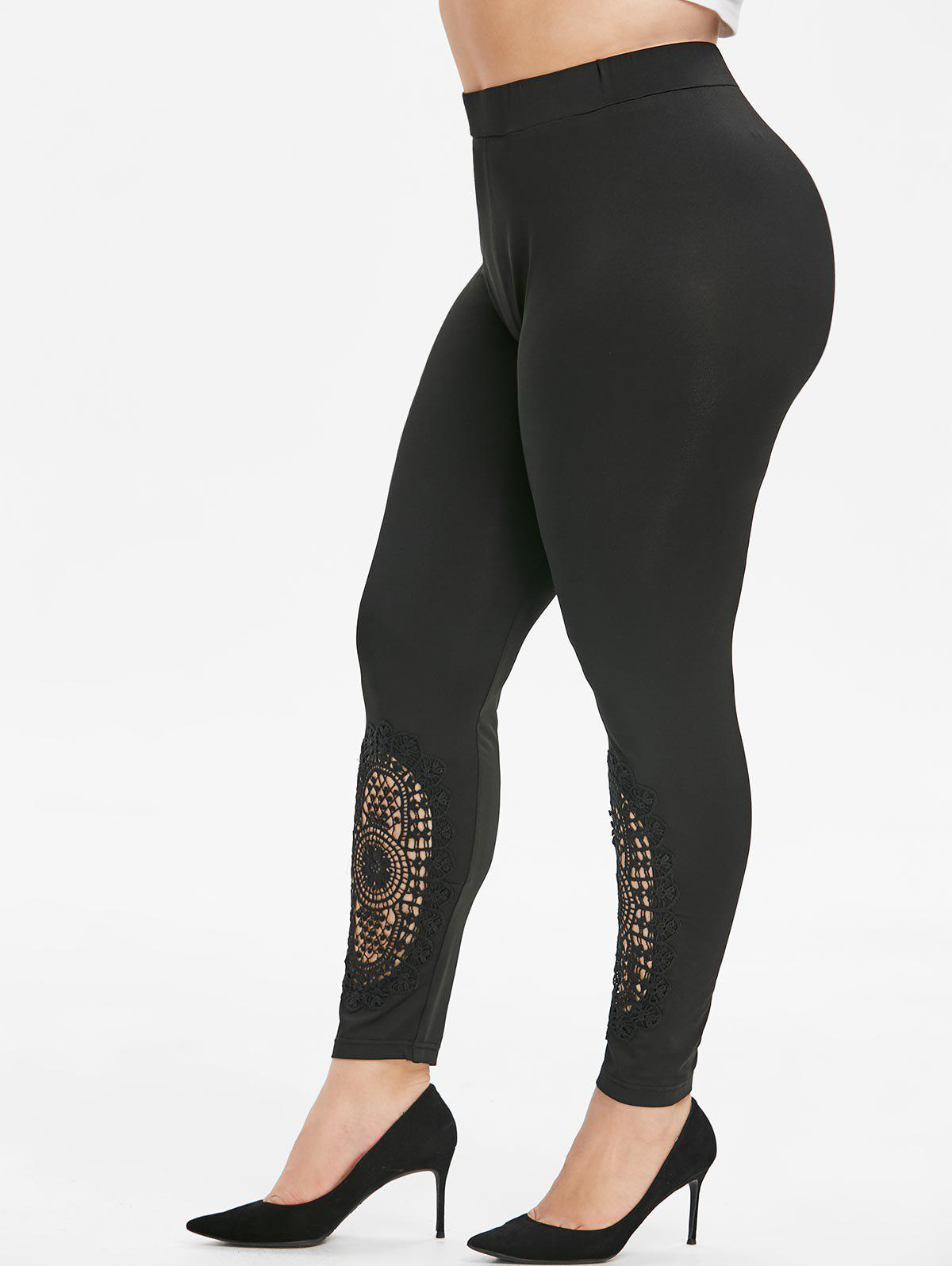 Shop Plus Size Guipure Lace High Waisted Leggings