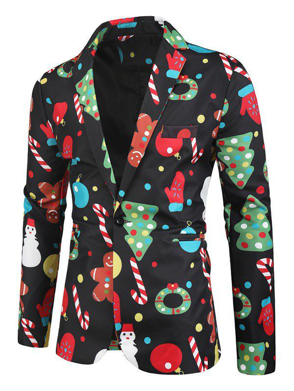 Unique Christmas Tree Cartoon Pattern Button Blazer