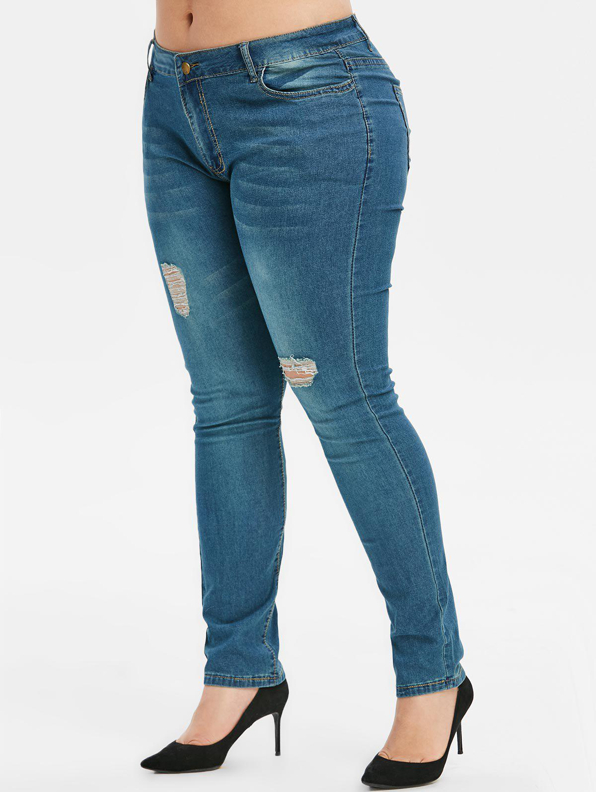 Discount Plus Size Distressed Jeans