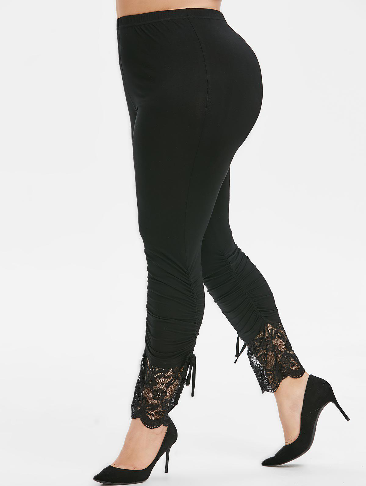 Hot Plus Size Flower Lace Insert Ruched Skinny Leggings