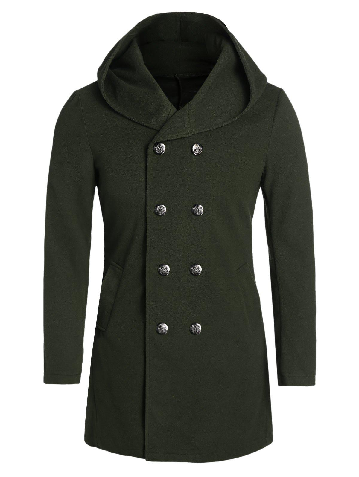 Unique Hooded Back Slit Double Breasted Wool Blend Coat
