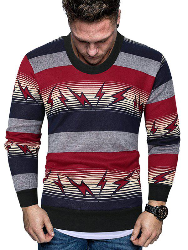 Outfit Striped Lightning Graphic Crew Neck Fleece Sweater