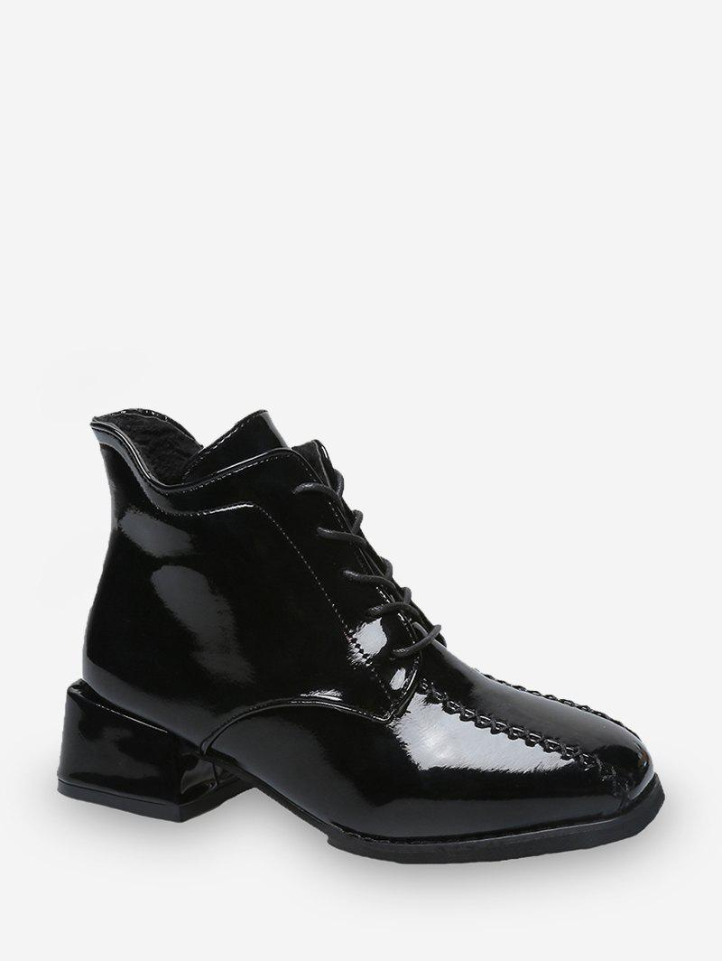 Buy Solid Color Lace-up Decoration Casual Boots