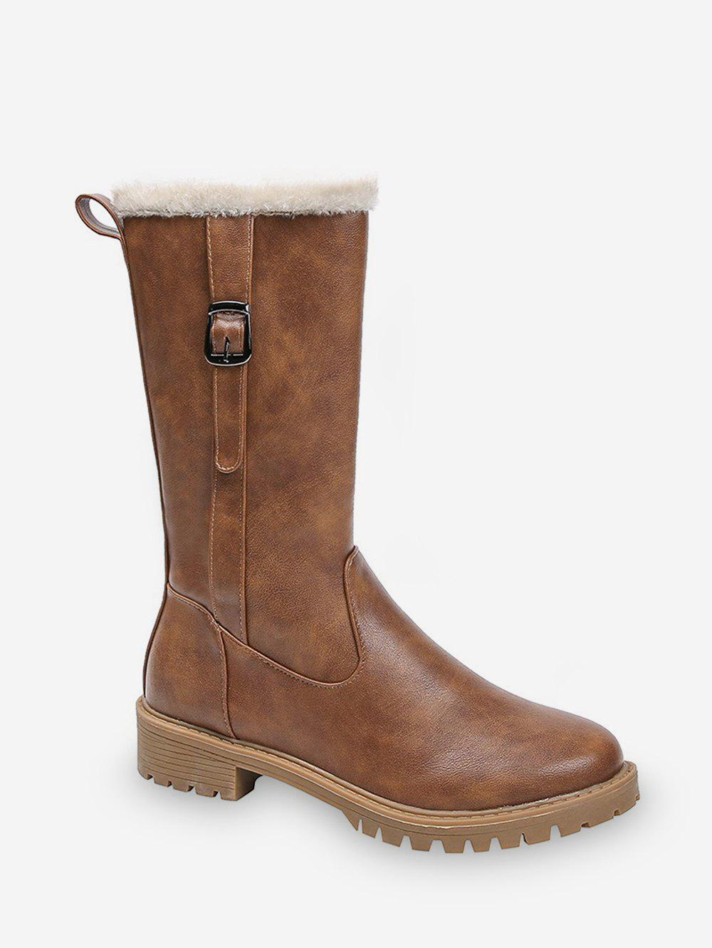 Chic Solid Color Buckle Decoration Casual Boots