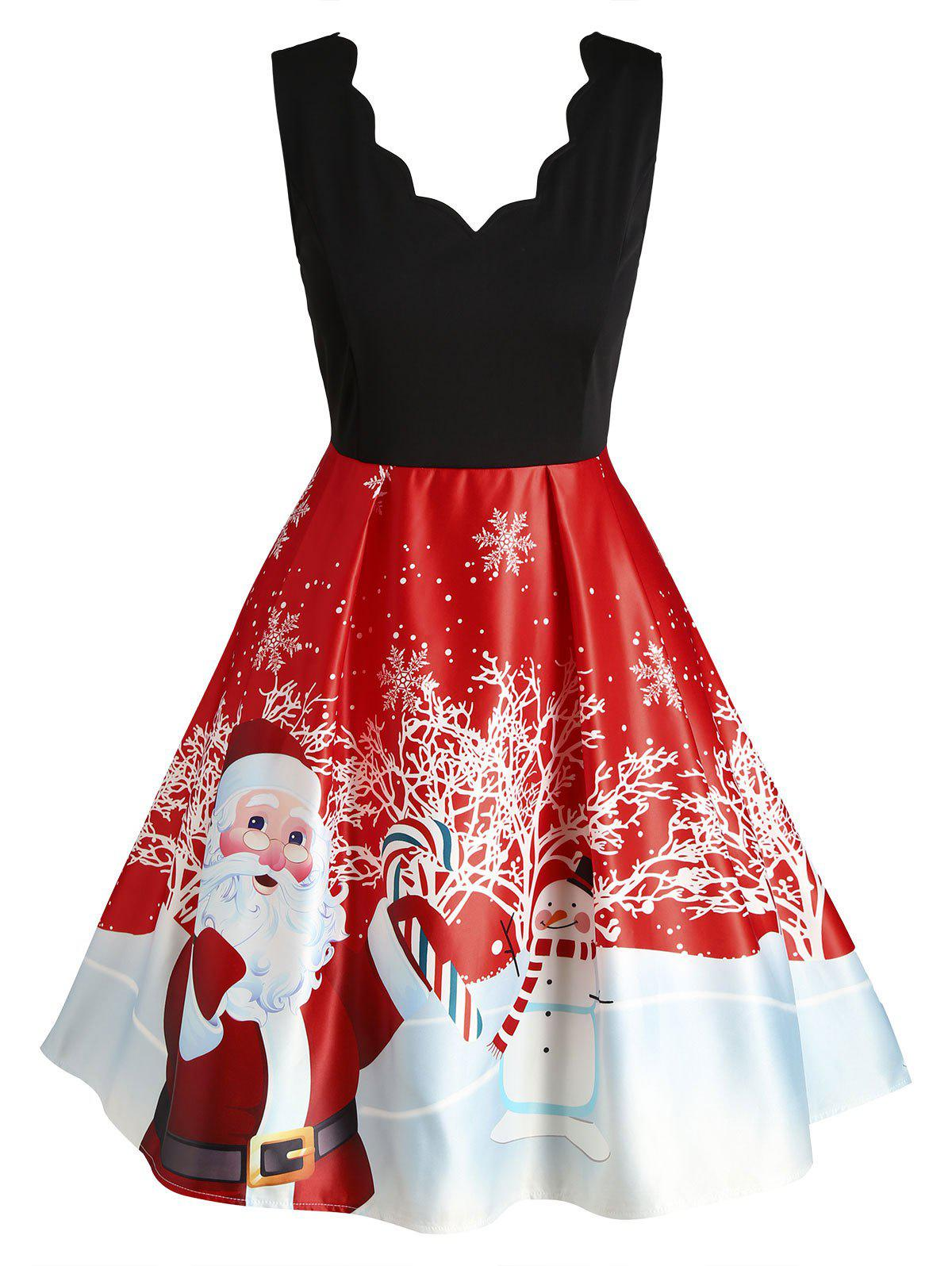 Chic Plus Size Christmas Printed Scalloped Vintage Party Dress