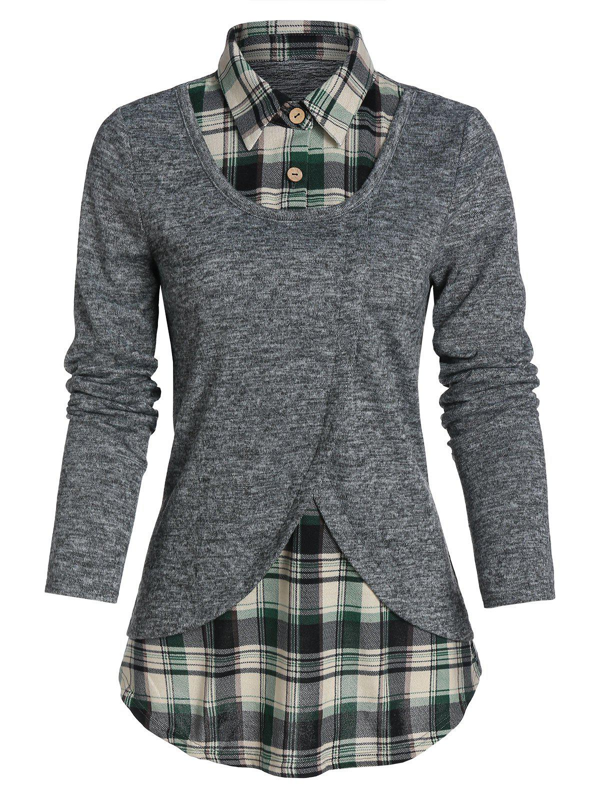Online Plaid Print Curved Hem Faux Twinset Sweater