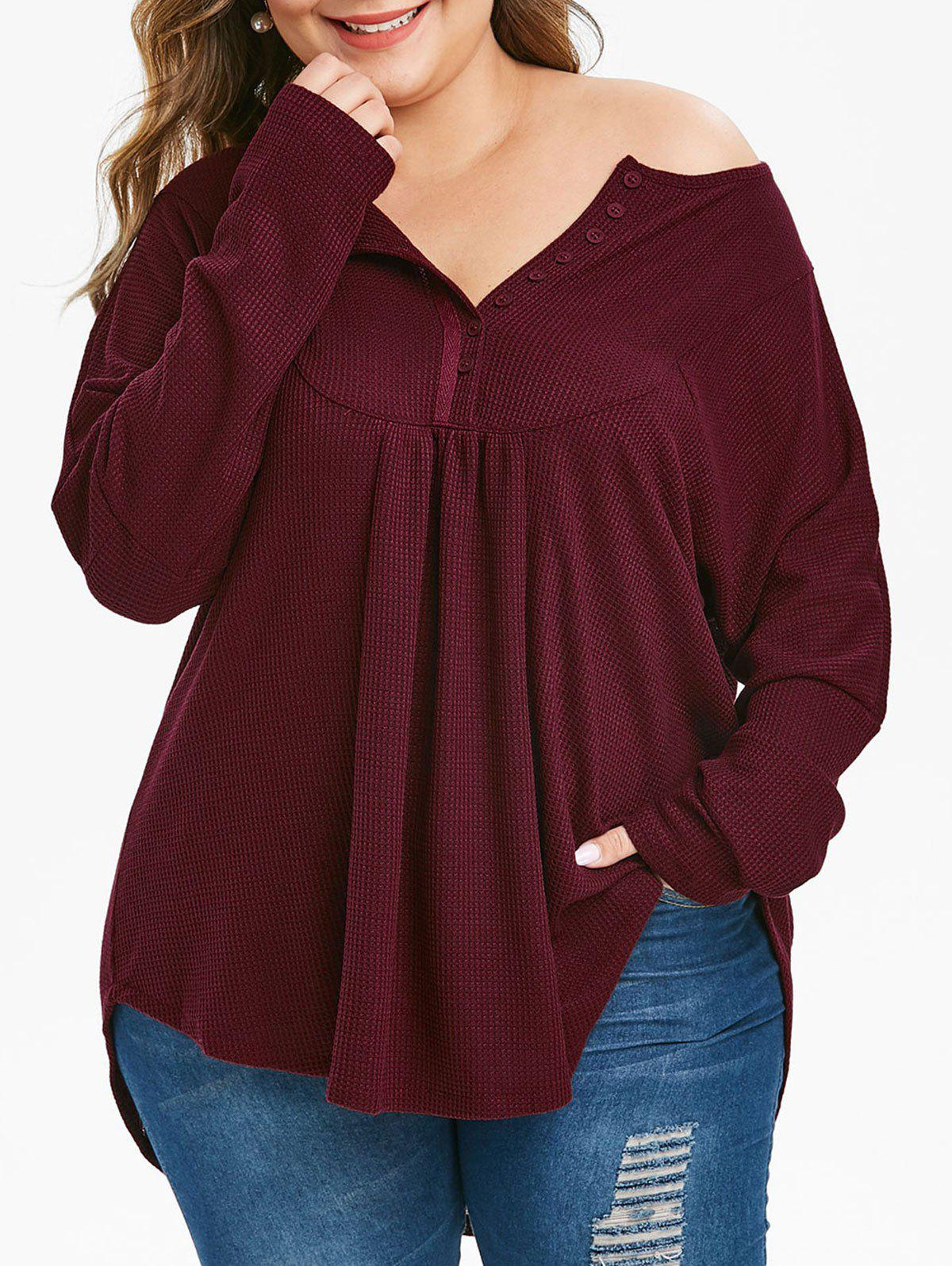 Online Plus Size Half Placket Curved Long Sleeve Knit Tee