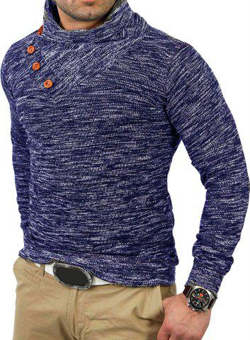 Button Decoration Casual Hoodie - NAVY BLUE - M