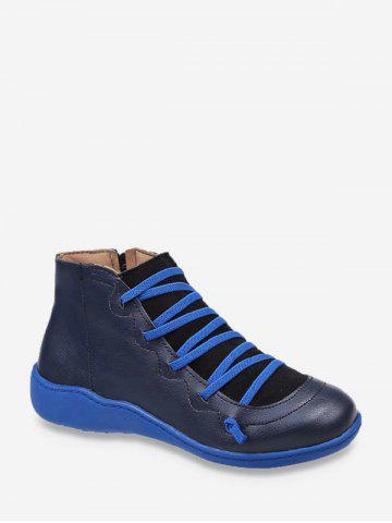 Criss-cross Patch Round Toe Ankle Boots - BLUE - EU 42