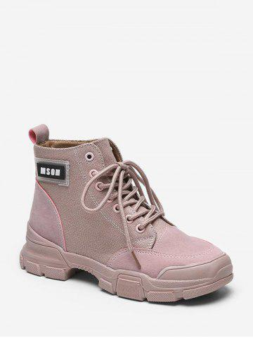 Letter Graphic Cloth Cargo Boots