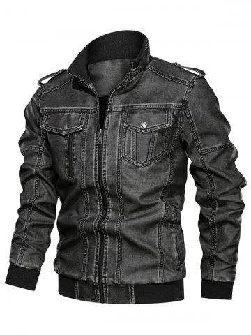 Solid Color Faux Leather Cargo Jacket - BLACK - XS