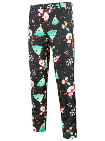 Christmas Tree Santa Claus Pattern Chino Pants - BLACK - XS