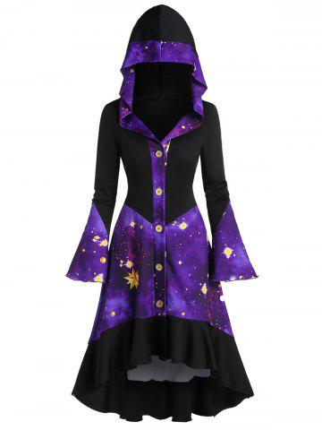 Galaxy Print Flare Sleeve Hooded Button Up High Low Coat