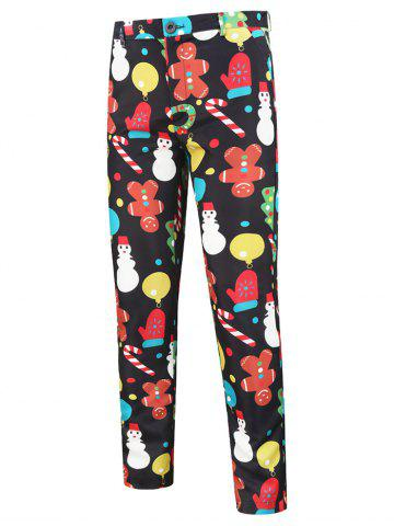 Cartoon Snowman Pattern Chino Pants