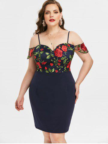 Plus Size Embroidered Cold Shoulder Bodycon Dress