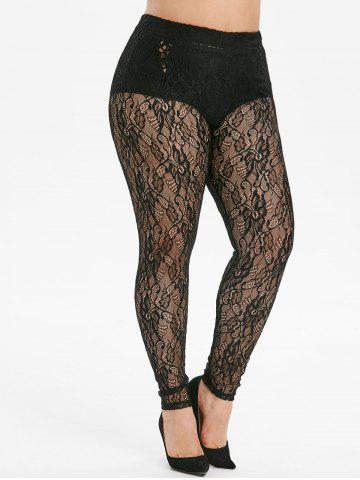 Openwork High Waisted Lace Plus Size Leggings