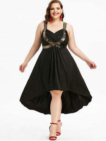 Plus Size Sequined Plunging Neck Ruched High Low Cocktail Party Dress