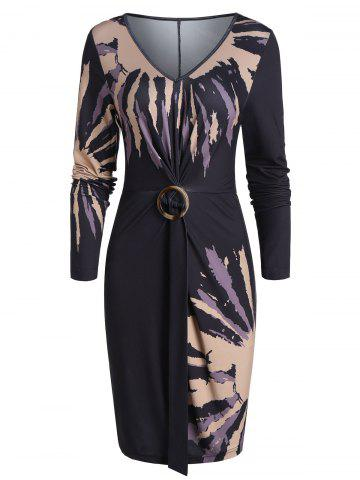 V Neck Printed Twist Button Bodycon Dress