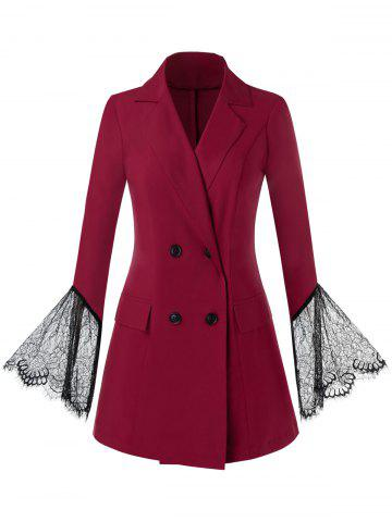 Plus Size Double Breasted Lace Bell Sleeve Blazer - RED WINE - 5X
