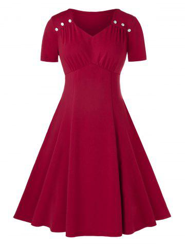 Plus Size Sweetheart Neck Midi Ruched A Line Dress - RED WINE - L